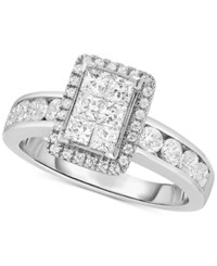 Macy's Diamond Rectangular Cluster Engagement Ring 1 1 3 Ct. T.W. In 14K White Gold