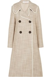 See By Chloe Double Breasted Faux Leather Trimmed Tweed Coat Beige