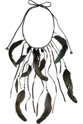 Maje Kabal Gunmetal Tone Crystal And Feather Necklace Black
