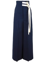 Marni High Waisted Wide Leg Trousers Blue