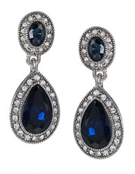 Carolee Blue Crystal Double Drop Earrings Blue Silver