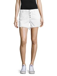 Blank Nyc Cotton Blend Frayed Shorts White
