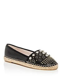 Kenneth Cole Brigid Studded Leather Espadrille Flats Black