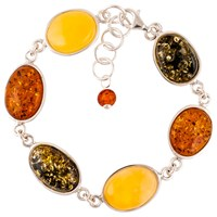Be Jewelled Mixed Amber Sterling Silver Bracelet Multi