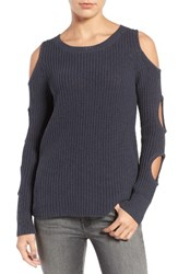 Trouve Women's Cutout Sleeve Cotton Sweater Navy India Ink