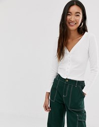 Monki Cropped Rib Buttoned Top In White