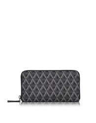 Lancaster Paris Ikon Coated Canvas And Leather Zip Around Continental Wallet Black