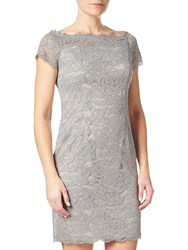 Adrianna Papell Petite Off Shoulder Lace Sheath Dress Silver Blue Almond