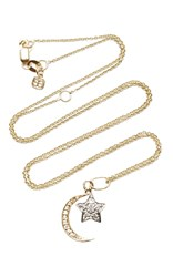 Sydney Evan Yellow Gold Moon And White Gold Star Charm