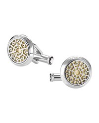 Montblanc Gold Leaf Inlay Round Cuff Links Silver