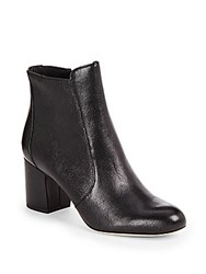 Diane Von Furstenberg Leather Round Toe Ankle Boots Black
