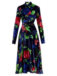 Msgm High Neck Floral Print Velvet Dress Navy Multi