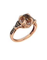 Le Vian Chocolate And White Diamond 14K Rose Gold Ring 0.91 Tcw Brown