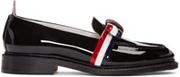 Thom Browne Black Patent Leather Bow Loafers