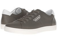 Dolce And Gabbana London Rubberized Leather Sneaker Military Green White Sole