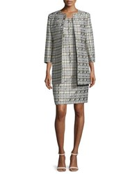 Albert Nipon Houndstooth Jacquard Jacket And Sheath Dress Set Pewter Multi