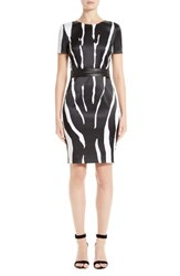 St. John Women's Collection Zebra Stretch Satin Dress