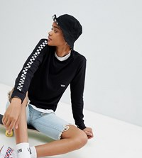 Vans Black Long Sleeve T Shirt With Checkerboard Arms