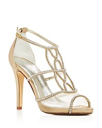 Caparros Ellen Jeweled Metallic Satin High Heel Sandals Gold