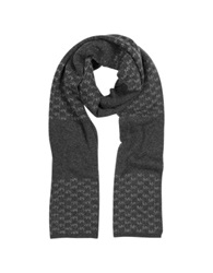 Michael Kors Repeat Stripe Logo Wool Men's Scarf Charcoal