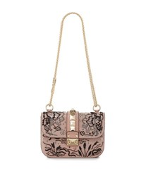 Valentino Lock Small Beaded Floral Shoulder Bag Light Pink