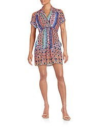Collective Concepts Printed Cold Shoulder Dress Multicolor
