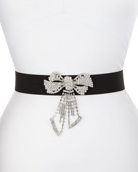 Deborah Drattell Stretch Rhinestone Bow Belt Black Size S 30In 75Cm