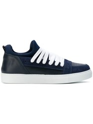 521a8f4108 Kris Van Assche Lace Up Sneakers Suede Leather Nylon Rubber Blue
