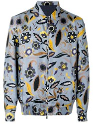 Fendi Floral Bomber Jacket Men Silk Cupro 50 Blue