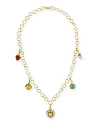 Jose And Maria Barrera 24K Gold Plated Chain Necklace With Detachable Charms