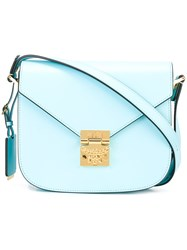 Mcm Fold Over Closure Crossbody Bag Blue