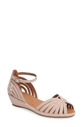 Gentle Souls Women's 'Leah' Peep Toe Wedge Sandal Blush Nubuck