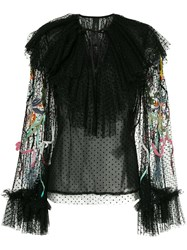 Romance Was Born Unicorn Beaded Blouse Polyester Silk Black