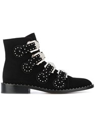 Givenchy Studded Ankle Boots Leather Suede Black