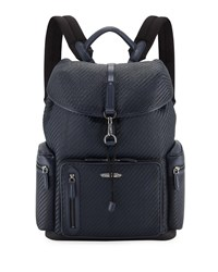 Ermenegildo Zegna Pelle Tessuta Flap Top Backpack Blue