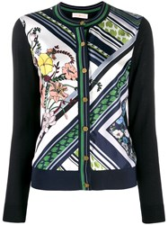 Tory Burch Printed Panelled Cardigan Blue