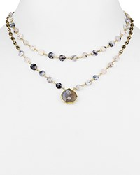 Ela Rae Leandra Double Layer Necklace 14 Gold Blue