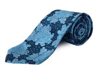 Double Two Clip On Paisley Patterned Tie Blue