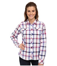 Columbia Camp Henry L S Shirt Purple Lotus Plaid Women's Long Sleeve Button Up White