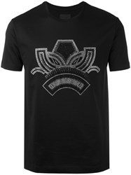 Les Hommes Silver Tone Print T Shirt Men Cotton M Black