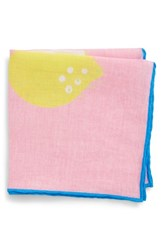 Bonobos Citrus Print Linen Pocket Square Pacific Pink