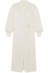 Co Striped Silk Shirt Dress Ivory