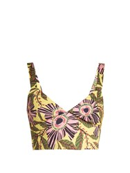 Red Valentino Floral Print Stretch Cotton Cropped Top Yellow Multi
