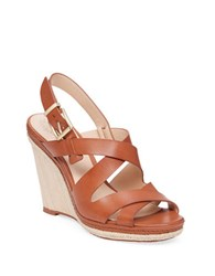 Vince Camuto Maben Leather Platform Wedge Sandals Brown