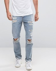 New Look Slim Jeans In Light Wash Blue With Knee Rips Blue