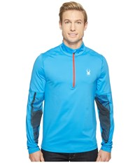 Spyder Alps Tech 1 4 Zip Top French Blue French Blue Halftone Men's Long Sleeve Pullover