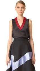 Vika Gazinskaya Crochet Detail V Neck Top Black Red