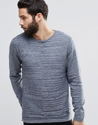 Only And Sons Knitted Woven Panel Crew Neck Dress Blue
