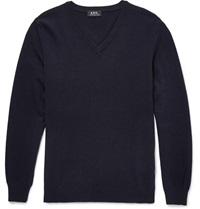 A.P.C. Wool And Cashmere Blend Sweater Blue