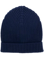 Dolce And Gabbana Ribbed Knit Beanie Blue